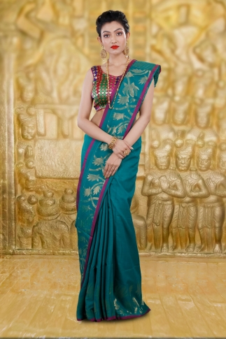 Teal Blue Bengal Hand Woven Saree With Thin Border