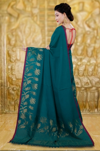 Teal Blue Bengal Hand Woven Saree With Thin Border 1