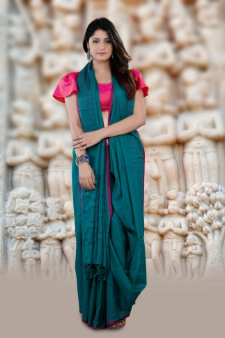 Blue Bengal Hand Woven Cotton Saree With Pink Border