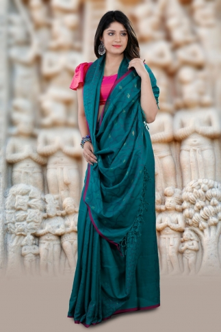 Blue Bengal Hand Woven Cotton Saree With Pink Border 1