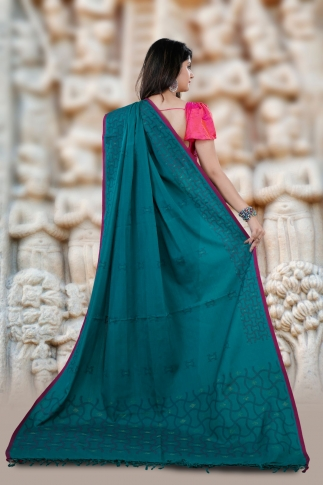Blue Bengal Hand Woven Cotton Saree With Pink Border 2