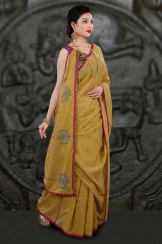 Yellow Bengal Hand Woven Saree With Woven Design