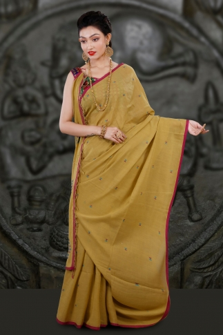 Yellow Bengal Hand Woven Saree With Woven Design 1