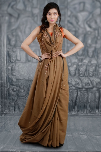 Brown Bengal Hand Woven Saree With Woven Design