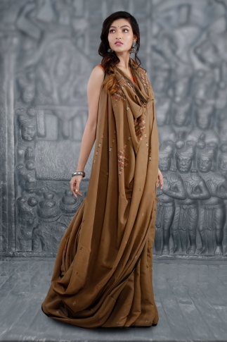 Brown Bengal Hand Woven Saree With Woven Design 1