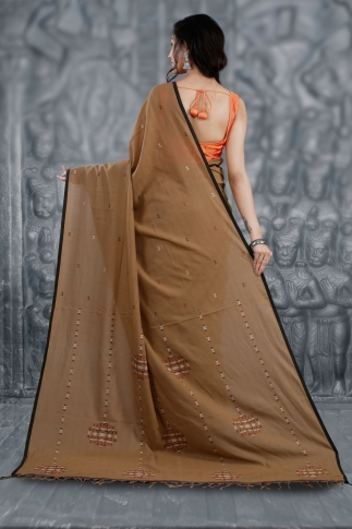 Brown Bengal Hand Woven Saree With Woven Design 2