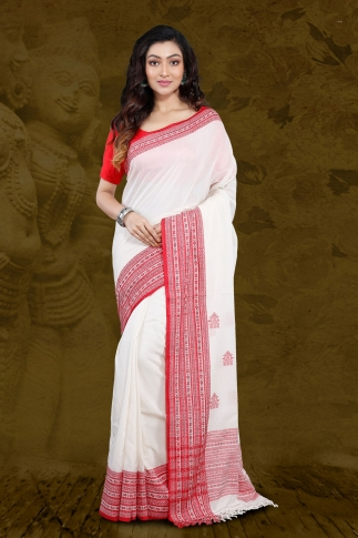 White Bengal Hand Woven Saree With Woven  Border