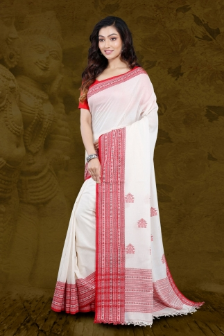 White Bengal Hand Woven Saree With Woven  Border 1