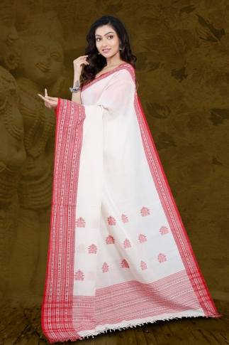 White Bengal Hand Woven Saree With Woven  Border 2