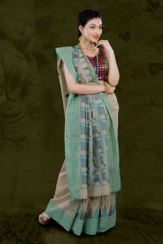 Beige Bengal Hand Woven Saree With Striped Border 1