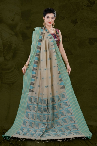 Beige Bengal Hand Woven Saree With Striped Border 2