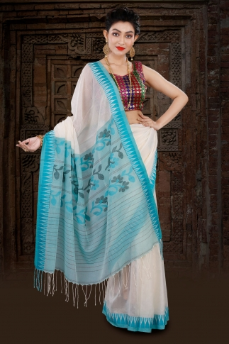 White Bengal Hand Woven Saree With Blue Border