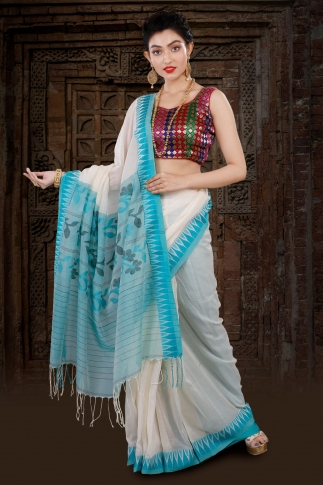 White Bengal Hand Woven Saree With Blue Border 1