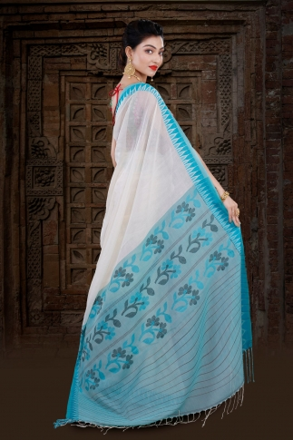 White Bengal Hand Woven Saree With Blue Border 2