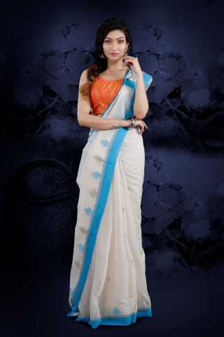 White Bengal Hand Woven Saree With Light Blue Border
