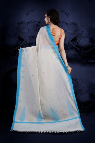 White Bengal Hand Woven Saree With Light Blue Border 2