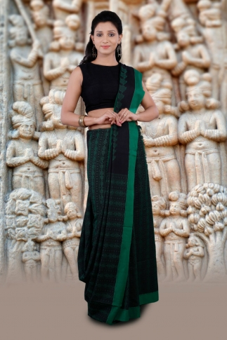 Black And Green Hand Woven Pure Cotton Saree