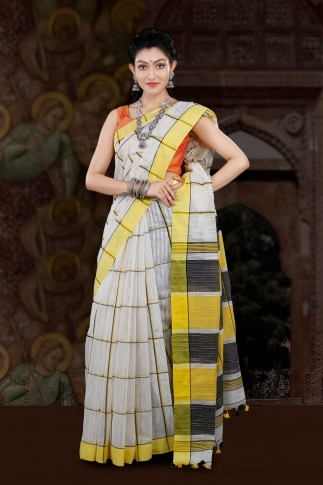 Bengal Handloom White with Yellow Border Blended Cotton Saree