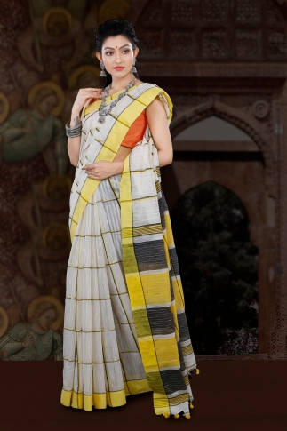 Bengal Handloom White with Yellow Border Blended Cotton Saree 1