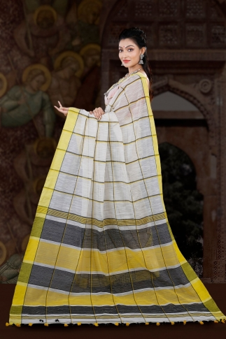 Bengal Handloom White with Yellow Border Blended Cotton Saree 2