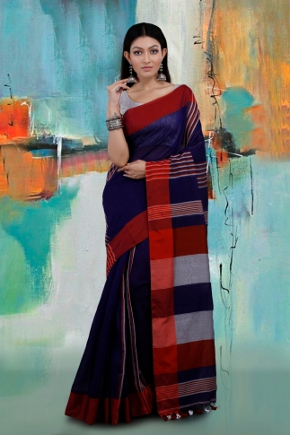 Blue and Red Hand Woven Blended Cotton Saree