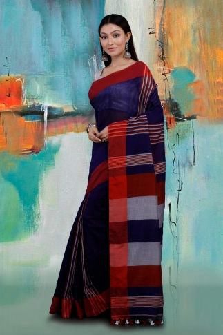 Blue and Red Hand Woven Blended Cotton Saree 1