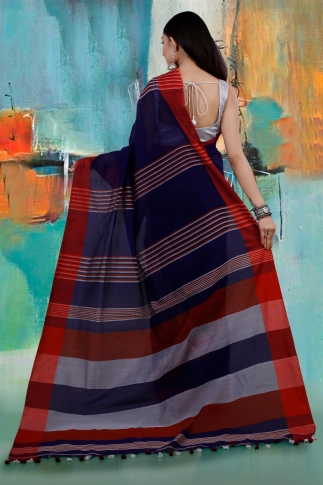 Blue and Red Hand Woven Blended Cotton Saree 2