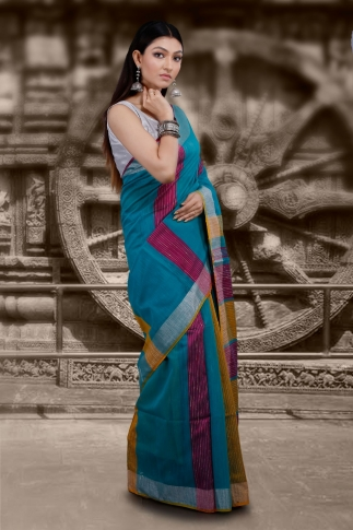 Blue Hand Woven Blended Cotton Saree With Zari Border