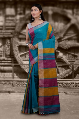 Blue Hand Woven Blended Cotton Saree With Zari Border 1