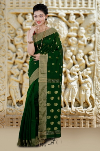 Green Bengal Hand Woven Saree With Wide Border