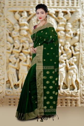 Green Bengal Hand Woven Saree With Wide Border 1