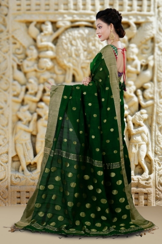 Green Bengal Hand Woven Saree With Wide Border 2