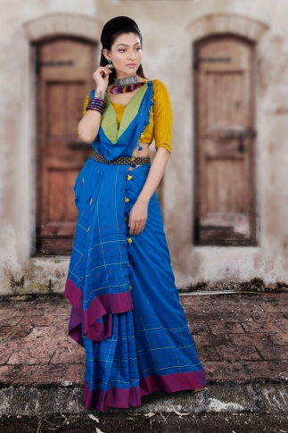 Blue Hand Woven Pure Cotton Saree With Yellow And Magenta Border