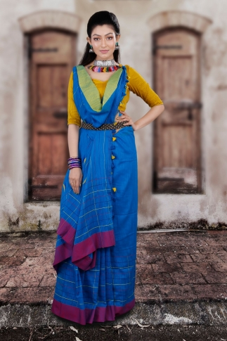 Blue Hand Woven Pure Cotton Saree With Yellow And Magenta Border 1