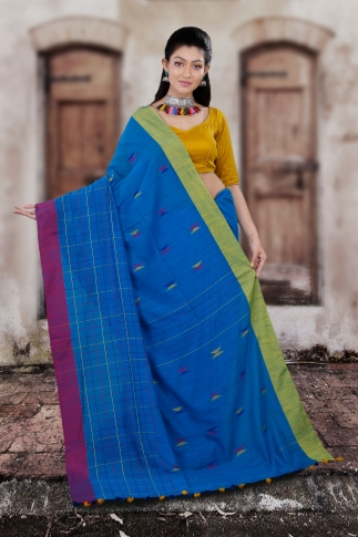 Blue Hand Woven Pure Cotton Saree With Yellow And Magenta Border 2