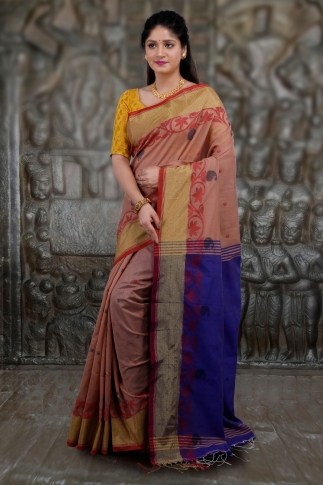 Beige and Blue Hand Woven Blended Cotton Saree