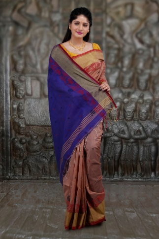 Beige and Blue Hand Woven Blended Cotton Saree 1