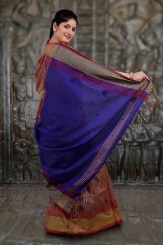 Beige and Blue Hand Woven Blended Cotton Saree 2