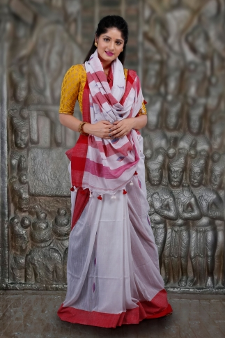 White & Red Hand Woven Pure Cotton Saree Fabricated on Pure Cotton 1