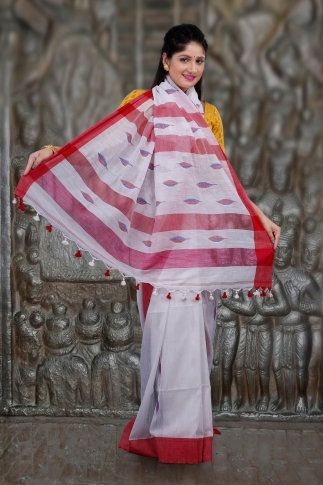 White & Red Hand Woven Pure Cotton Saree Fabricated on Pure Cotton 2