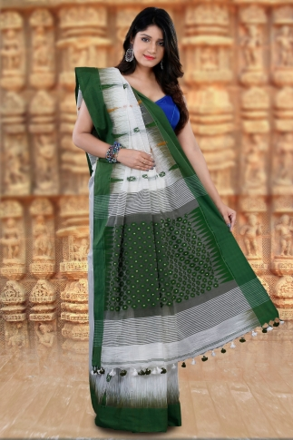 Bengal Handloom White and Green Blended Cotton Saree 2