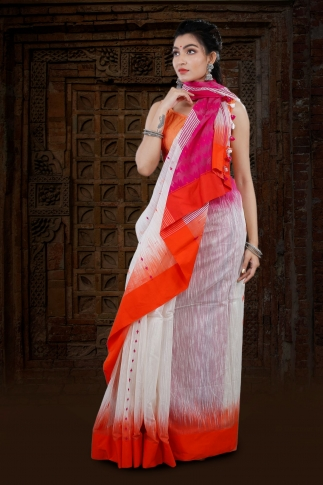 White Bengal Hand Woven Blended Cotton Saree With Dual Tone Border