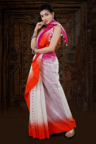 White Bengal Hand Woven Blended Cotton Saree With Dual Tone Border 1