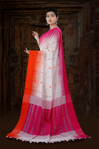 White Bengal Hand Woven Blended Cotton Saree With Dual Tone Border 2