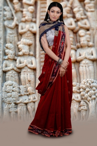 Dark Red Hand Woven Blended Cotton Saree 1