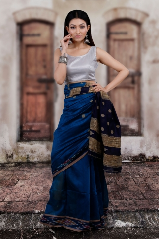 Blue Hand Woven Blended Cotton Saree With Gicha Work 1