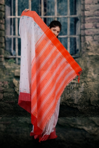 White With Red and Orange Pallu Hand Woven Pure Cotton Saree Fabricated on Pure Cotton 2