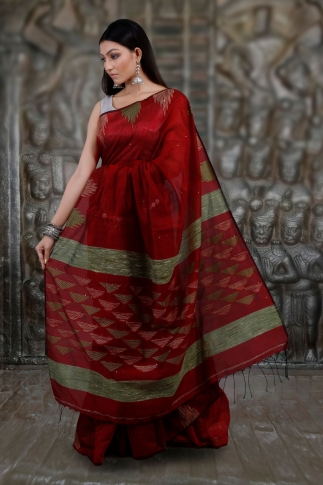 Red Hand Woven Blended Cotton Saree With Ghicha Work 2