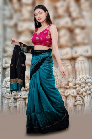 Teal Blue Hand Woven Blended Cotton Saree With Gicha Work