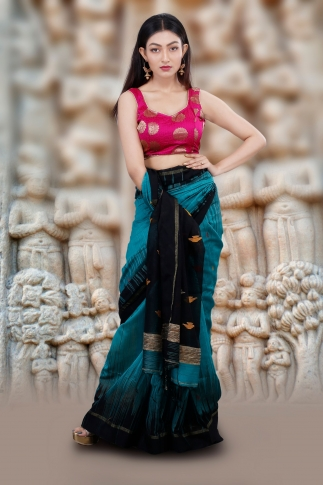 Teal Blue Hand Woven Blended Cotton Saree With Gicha Work 1